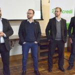 Gerentes das agências Sicredi em Chapecó, Claucus Valdameri, Anderson Fronza, Cleidir Faller e Ademir Sonza receberam os convidados