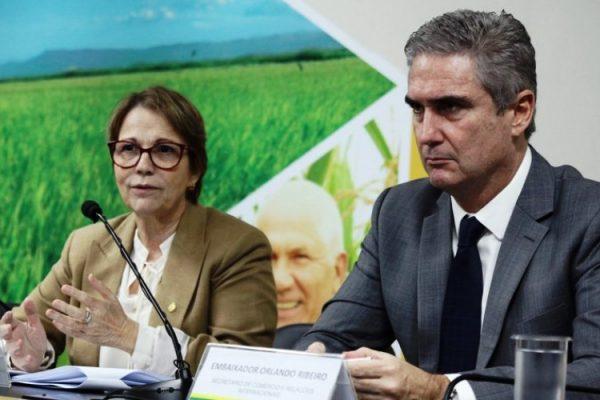 Entrevista coletiva sobre acordo Mercosul-União Europeia (Foto: Carlos Silva/Mapa)